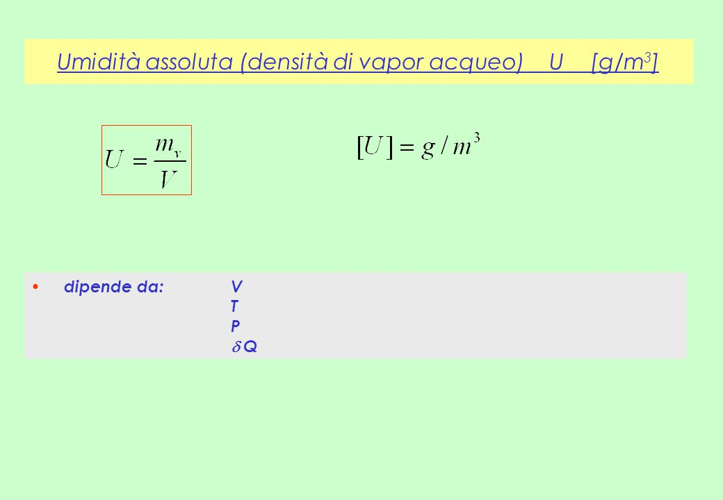 Umidità assoluta (densità di vapor acqueo) U [g/m3]